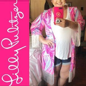 Lilly Pulitzer Fringe Cardigan 100% Silk Size L/XL